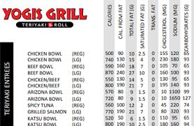 Chicken Nutrition Facts Chart Nutrition Info Yogis Grill