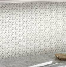 msi penny round porcelain mosaic tile in glossy white reviews within penny round floor tile