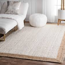 white rug. nuloom alexa eco natural fiber braided reversible border off-white jute rug (8\u0026# white