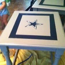 dallas cowboy table old living room end table sanded down with electric sander painted with left dallas cowboy table