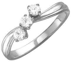 Купить Эстет <b>Кольцо с 3 фианитами</b> из серебра 01К153856 ...