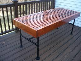 Cedar Outdoor Table With Builtin Wine U0026 Beer Cooler With Metal Pipe Outdoor Furniture
