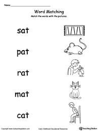 Phonics worksheets for kids including short vowel sounds and long vowel sounds for preschool and kindergarden. At Word Family Picture And Word Match Myteachingstation Com