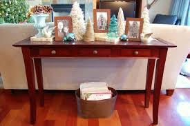 Sofa Table Christmas Decorating Ideas Red Maple Lacquered Finish Narrow  Rectangle Solid Wood Console Generous Drawers Curved Legs Feature