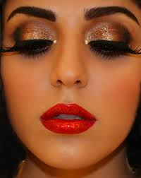 bronze shimmer eye and red lip makeup