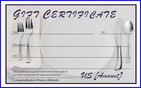 Restaurant Gift Certificate Template Ms Word Templates