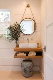 Like the wall style, the shelf sink, and the hanging mirror. Bathroom  Design Ideas, Pictures, Remodel and Decor