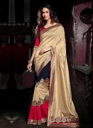 Designer Patches For Sarees Elite Red And Beige Patch Border Work Georgette Designer Saree