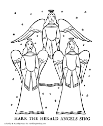 Religious Christmas Bible Coloring Pages Herald Angles Sing