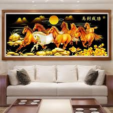 philippines 5d diamond diy full pasted eight horses diamond painting 10434 120 x 55cm