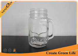 beverage 16oz eco glass jar mugs with straw lid glass mason jars with handles