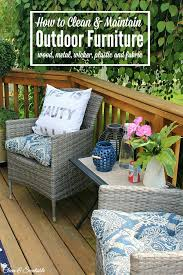 summer patio with wood deck and wicker chairs