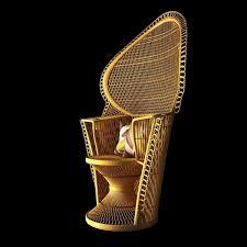 wicker rattan fan back pea chair vintage 3d model max obj 3ds fbx mtl 3