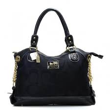 Coach Legacy Pinnacle Lowell In Signature Large Black Satchels ADU