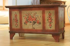 furniture motifs. Brick Coloured Wooden Chest With Floral Motifs Furniture