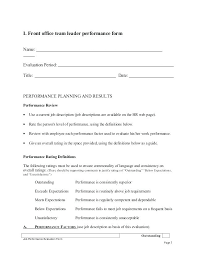 Job Performance Evaluation Form Templates Team Leader Self Appraisal Job Performance Evaluation Form Page 2 3