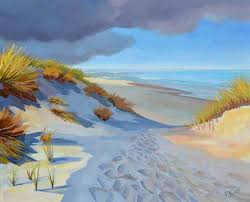 beach dune shadows new oil painting
