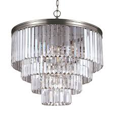 sea gull lighting carondelet 23 5 in 6 light antique brushed nickel crystal crystal waterfall
