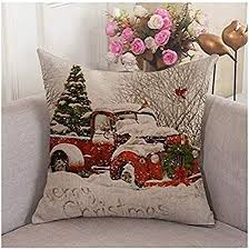 <b>Red</b> Truck Tree <b>Christmas</b>' Sofa <b>Decoration</b> Pillow Cover 18X18 ...