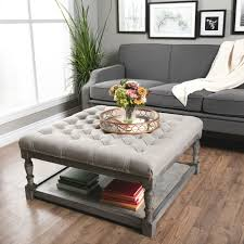 Captivating Storage Ottoman Coffee Table Tufted Upholstered Linen Square  Fabric Furniture Open Storage Area Underneath Solid Wood Frame And Shelf  With ...