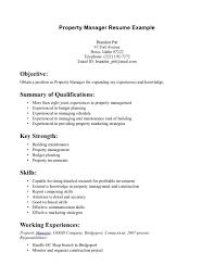 Cover Letter Property Management Resume Property Management Resume