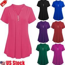 S 6xl Plus Size Women Short Sleeve V Neck Loose T Shirt Casual Tunic Tops Blouse