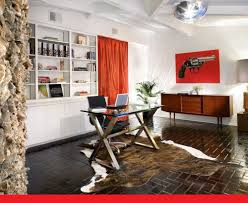 orange home office. Breathtaking Home Office Interior Design With Glass Desk Table On Animal Print Rug Motive And Orange C