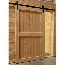 barn door shown installed with optional sliding track hardware