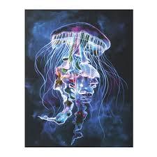 led light up jellyfish canvas wall art