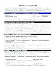 Simple Employee Review Simple Employee Evaluation Form Basic Self Review Samples