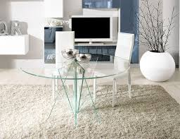 unico modern stella round dining table in transpa or grey glass thumbnail