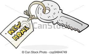 New Home Cartoon Images Cartoon House Key With New Home Tag