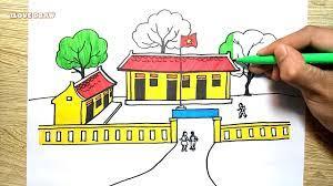 Vẽ Tranh Ngôi Trường Của Em - Vẽ Ngôi Trường - How To Draw My School and  Coloring for children - YouTube