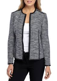 anne klein zip front tweed jacket with faux leather trim black mariner combo women s clothing blazers