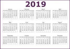 Calendar Year 2019 Printable One Page 2019 Printable Calendar Free Download Calendar 2019