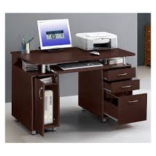 Techni Mobili Complete Computer Workstation with Cabinet and Drawers -  Chocolate | Hayneedle
