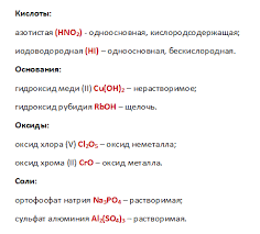 Контрольный срез по химии для класса 1