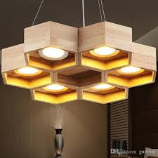 loft wood pendant lamp honeycomb chandeliers nordic antique wooden founded on solid wood light bar coffee small chandeliers contemporary pendant lights