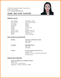 Template 6 Curriculum Vitae Format For College Students Mail Clerked
