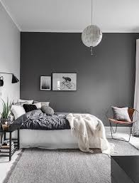 gray bedroom ideas. love the dark grey wall used in this bedroom gray ideas