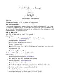 Bank Teller Job Resume Musiccityspiritsandcocktail Com