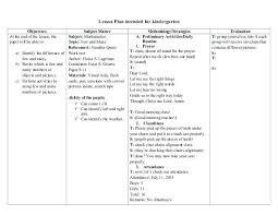 Kindergarten Common Core Lesson Plan Free Format Download Nursery ...