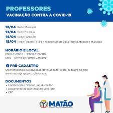 Segue a vacinação contra a covid-19 em profissionais da Educação de Matão –  Portal da Prefeitura de Matão