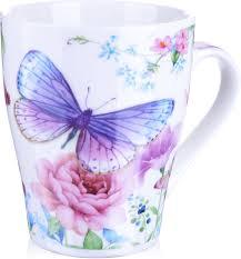 "<b>Кружка Loraine</b> ""Бабочка"", цвет: белый, коричневый, розовый ..."