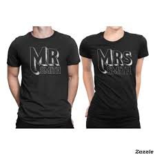 Company Anniversary T Shirt Design Ideas Mr And Mrs Just Married Matching Couple Shirts Zazzle