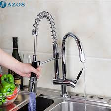 Kitchen Sink Faucet 3 Color Led Light Rotatable Spring Hose Pull