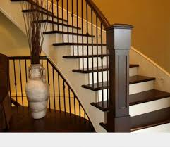 Stairs, Appealing Indoor Staircase Railing Interior Railing Systems Dark  Brown Woods Railing And White Stairs