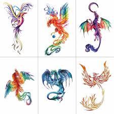 купить товар Tcool красочные акварельные феникс дракон временные