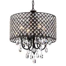 marya 4 light antique black round chandelier with beaded drum hanging clear crystal glass