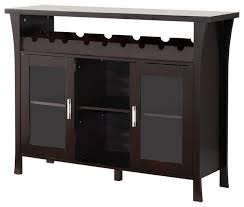 espresso wood wine rack console table with glass storage doors transitional wine and bar cabinets by virventures